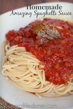 Amazing Homemade Spaghetti Sauce | This is my new favorite Sauce...the leftover sauce makes amazing stuffed shells. | reallifedinner.com