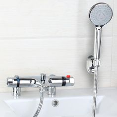 72.24$  Buy now - http://ali3p9.worldwells.pw/go.php?t=32415301771 - Monite 97167-18 Bath Mixer banho de torneira Thermostatic Deck Mount Bathtub Faucet With Hand Shower Faucets Mixers Shower 72.24$