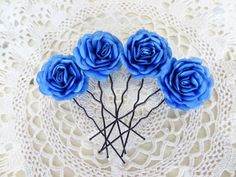 Saxs Blue Satin Rose Wedding Hair Pins Saxs Blue by sevinchjewelry