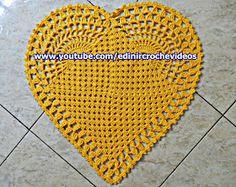 coração de croche aprender croche Edinir-Croche curso de croche americano tapete de croche