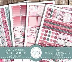 Romantic floral weekly printable planner stickers kit for vertical Erin Condren Life Planner. Click to see the product in my shop.