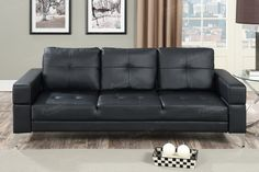 Crafted in the traditional sofa, this adjustable sofa can be used for your home's living room, den or office. Works great for a variety of spaces, it features plush pillow back support and seating with block style armrest. Available in blue grey (polyfiber),black (faux leather) or ash black (polyfib