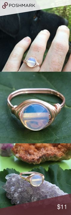 Rose gold plated Opalite stone ring handmade ✨ *Can be made in any size *hypoallergenic/non tarnishable Sterling rose gold plated wire *8mm Opalite stone bead*Handmade with love. ~In healing Opalite is believed to stabilize mood swings and purify the blood and kidneys. #jewelry #ring #rings #opal #opalring #opalite #healingstones #healingcrystals #minimalist #minimalistring #wirering #eclectic #wirewrap #hippie #jewelrybundle #opalite #stackable #stackablering #rosegold #rosegoldring…