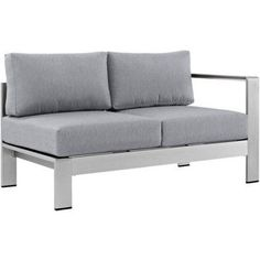 Modway Shore Right-Arm Corner Sectional Outdoor Patio Aluminum Loveseat, Multiple Colors Available, Gray