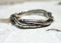 Men's Union Ring - Sterling Silver Twisted Entwined Twig Branch Oxidized Wedding Ring