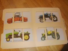 Little Family Fun: File Folder Games: Tractor Puzzles.i like the idea of cutting up a picture and making it a puzzle Folder Games For Toddlers, File Folder Activities, File Folder Games, Craft Activities, Toddler Activities, Activity Ideas, File Folders, Game Ideas, Preschool Learning