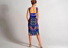 Vestido con estampado abstracto OLIVIA con raja tallas