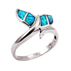 Fishy Whale Tail Ring Solid 925 Sterling Silver Lab Created Australian Blue Opal Whale Tale Ring Blue Fiery Lab Opal Nautical Jewelry Gift