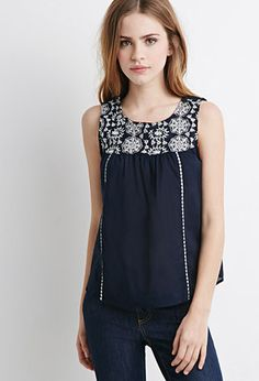 Floral Embroidered Peasant Top | Forever 21 - 2049257484