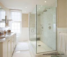Hampton Design - bathrooms - beadboard, white beadboard, beadboard paneled walls, beadboard walls, grasscloth, grasscloth wallpaper, seamles...