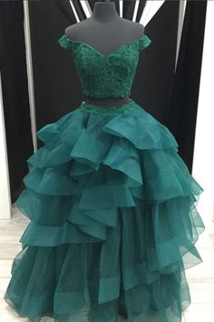 Deep green organza two pieces off shoulder lace long ruffles homecoming dresses #prom #dress #promdress #promdresses