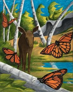 Items similar to Reunion print). Calf moose in a Canadian forest setting with Monarch butterflies. Canadian Forest, Monarch Butterfly, Reflection, Moose Art, Scene, Artist, Nature, Image, Naturaleza