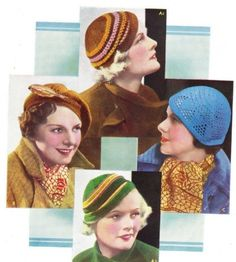 Vintage 1930s knitting and crochet patterns- 4 hats to make.....