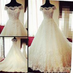 Gorgeous Off Shoulder Cap Sleeve Vantage Lace Wedding Party Dresses, Dresses For Wedding, WD0004