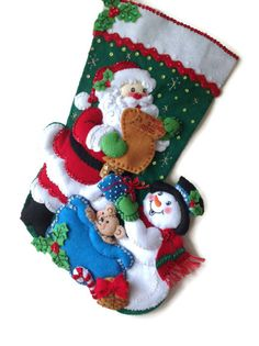 Finished Bucilla Christmas Stocking  Santa and by PinsandNeedles0, $74.95