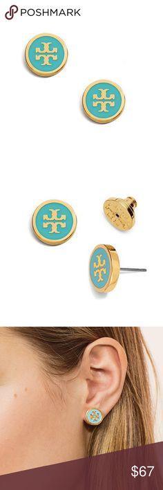 """New Tory Burch Logo Stud Earrings in Turquoise!! Perfect appearance and perfect size, it's no wonder the lacquered logo stud earrings are timelessly chic and give any outfit a polished look.  These are in the turquoise and Tory gold tone and are approximately 0.48"""" in diameter. Simply elegant.... Tory Burch Jewelry Earrings"""