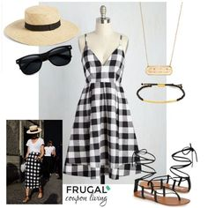 Fashion Friday Black Checked DressOutfit on Frugal Coupon Living. his week we took inspiration from a loose tee and black checkered pencil skirt and created a similar look using this loose a-line dress from Modcloth! How fun is this look for summer?