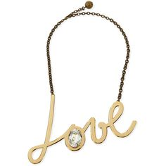 Lanvin Golden Love Pendant Necklace ($342) ❤ liked on Polyvore featuring jewelry, necklaces, gold, lanvin necklace, cable chain necklace, golden jewellery, lanvin jewelry and golden pendant