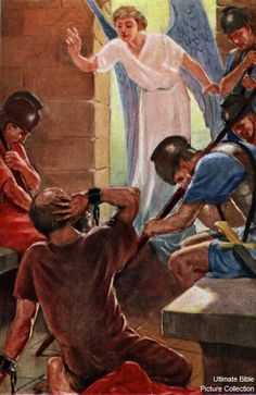 Acts 12 Bible Pictures: Angel freeing Peter from prison Religious Pictures, Bible Pictures, Christian Church, Christian Art, Acts Of The Apostles, Paul The Apostle, Bible Illustrations, Biblical Art, Bible Activities