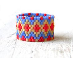 Size 8 Boho ring Bohemian ring Ethnic ring Wide boho rings Seed bead jewelry Hippie ring Boho handmade ring Multicolor ring on middle finger Seed Bead Jewelry, Seed Beads, Beaded Jewelry, Jewelry Rings, Jewlery, Handmade Jewelry, Hippie Rings, Bohemian Rings, Bohemian Jewelry