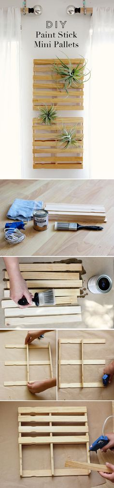 Fun Wall Paint Stick Project Ideas | DIY Paint Stick Mini Pallets by DIY Ready at http://diyready.com/paint-stick-diy-projects/