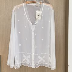 Beautiful J.Jill White Blouse WORN ONCE, Dry Cleaned, still in perfect condition hanging in plastic protection in my closet.  I haven't taken new photos but the tags are no longer on this.   I wore it on NYE & thought I might keep it but I've decided to sell.   J. Jill, 100% Rayon, beautiful embroidery and scalloped edged bottom, sheer design (wear a cami) size 2X.  So beautiful. NO TRADES Free DELUXE Beauty Sample With This Purchase  J. Jill Tops Blouses
