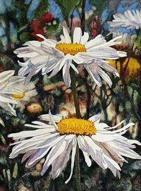 . White Sunflower, Floral Paintings, Love Flowers, Beautiful Artwork, Daisies, Artist At Work, Watercolors, Painting & Drawing, Watercolor Paintings