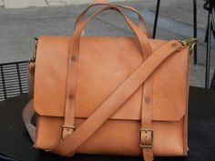 HANDMADE LEATHER BAG by Little Lion Man - Laptop Suit Case Luggage Briefcase Waxed Veg Tan Copper Laptop Hand Stitched