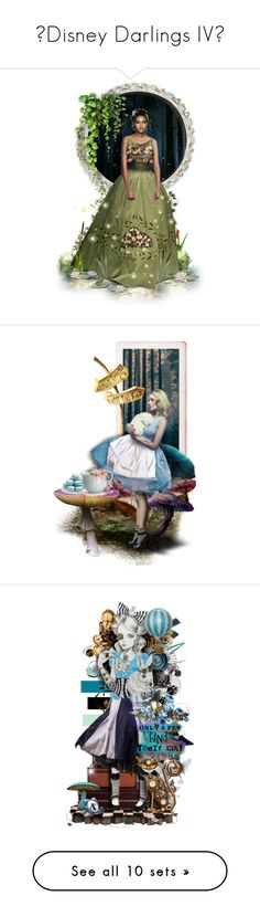 """🏰Disney Darlings IV👑"" by cindu12 ❤ liked on Polyvore featuring art, Alice, Wonderland, dolls, illustration, ultracake, aliceinwonderland, expression, dollset and BlueandGold"