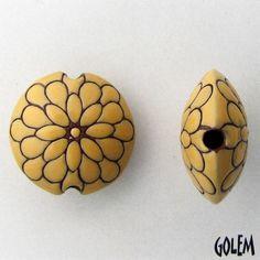 Peacock Yellow on terracotta lentil - Golem Studio handmade ceramic bead