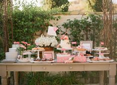 how great is this dessert table!?  fresh pies, a little cake, and some blooms