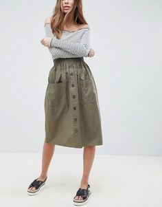 ASOS | £20 | Khaki cotton midi skirt with button through front, patch pockets and elasticated waistband