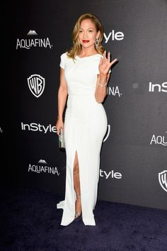 Pin for Later: The Afterparties Deliver Another Dose of Golden Globes Glamour Jennifer Lopez Wearing Roland Mouret gown and Chalotte Olympia heels.