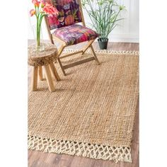 nuLOOM Handmade Chunky Jute/ Wool Tassel Natural Rug (8' x 10') - Free Shipping Today - Overstock.com - 18002037 - Mobile