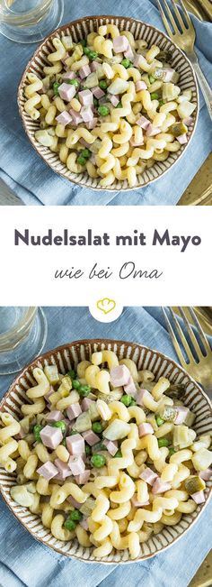 Wie von Oma: Klassischer Nudelsalat mit Mayonnaise Kringelige Hörnchennudeln, small peas, diced gherkins, the best meat sausage and plenty of mayo – so succeed the pasta salad as grandma. Pasta Salad Recipes, Shrimp Recipes, Diet Recipes, Carne, Salad Works, Salad Vinegar, Creamy Cucumber Salad, Easy Cheesecake Recipes, Chocolate Cookie Recipes
