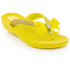 Dizzy T-Drop Sandal ($9) ❤ liked on Polyvore featuring shoes, sandals, yellow, slip on shoes, bow wedges shoes, embellished shoes, wedge heel shoes and slip on sandals