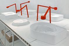 wafer-thin wash basins by konstantin grcic use LAUFEN's saphirkeramik