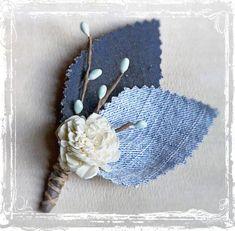 groomsmen in jeans for wedding | Denim Boutonniere - Blue Jeans - Wedding Lapel Pin - Groom, Groomsmen ...