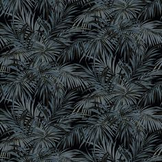 Butterfly Palm fabric features a leaf & tree design in blue & black. The Omega Prints Collection by Linwood, shop designer fabrics online! Tropical Fabric, Tropical Design, Black Curtains, Velvet Curtains, Upholstery Fabric Uk, Linwood Fabrics, Black Color Palette, Fabric Board, Fabric Butterfly