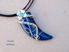 OOAK Green  Blue Agate tooth wire wrapped pendant by Ianira