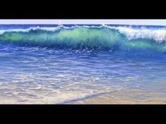 How to paint an ocean wave with acrylics painting lesson class colorfull sunset beach ripples - YouTube