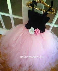 "The ""Melissa"" dress-Powder pink  &black lace top tutu dress for flower girls and princesses with gorgeous roses without headband by HandyMandyGirl on Etsy"