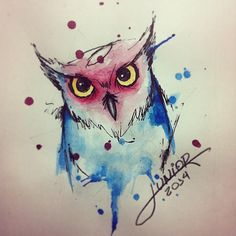 Owl - watercolor