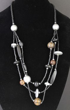 Simply Whispers hypoallergenic and nickel free Jewelry necklace three strand brown black and silver wood lobster claw necklace
