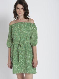 2cbea85628 Buy Chemistry Women Green Printed A Line Dress - Dresses for Women