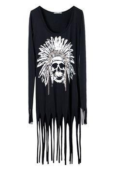 Tassels Head Print Black Shift Dress