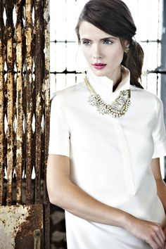 white button up + statement necklace, button up + statement necklace.