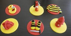 Fire Truck Fondant Cupcake Toppers  Item 464 by arleenstoppers, $30.00