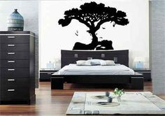 TIGER MONKEY TREE ILLUSION WALL ART STICKER DECAL MURAL BEDROOM VINYL STENCIL