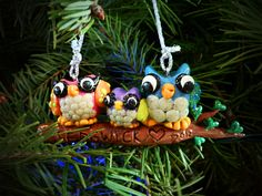 Glow In the Dark Owls  =)  Polymer Clay Christmas Ornament